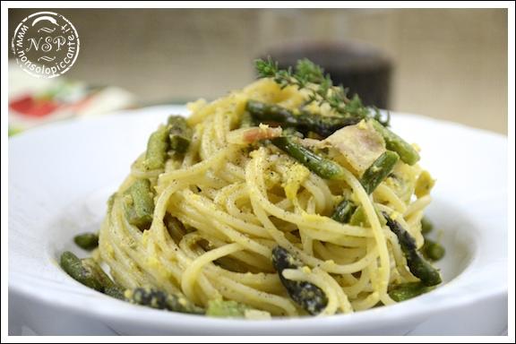 Spaghetti alla carbonara di asparagi