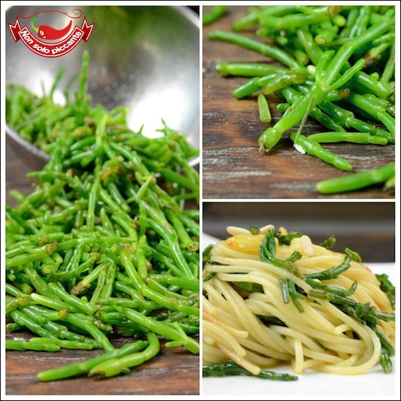 Spaghetti salicornia e gamberetti